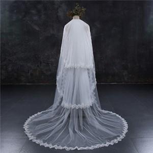 Three-Tier Chapel Length Bridal Veil With Lace Applique Edge