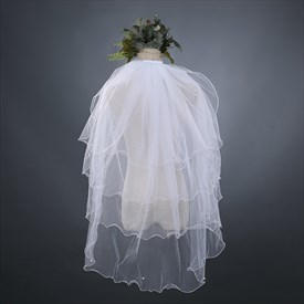 Four-Tier Simple Elbow Cascade Bridal Veil With Faux Pearl