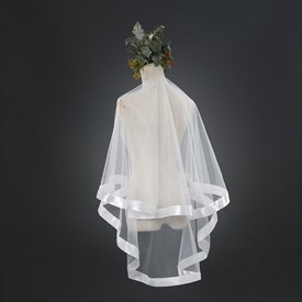 Two-Tier Simple Elbow Length Bridal Veil With Ribbon Edge