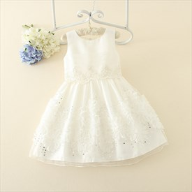 White A Line Knee Length Flower Girl Dress With Beading And Flowers
