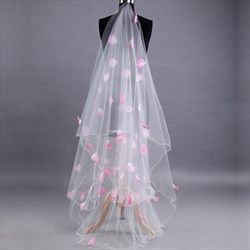 One-Tier Chapel Length Bridal Veil With Pink Petal Embellished