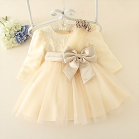 Champagne Long Sleeve Flower Girl Dress With Sequins And Bow