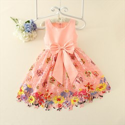 Pink A Line Knee Length Flower Girl Dresses With Floral Print