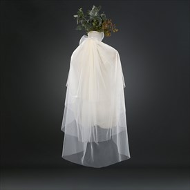 Three-Tier Simple White Elbow Length Bridal Veil With Bow Top