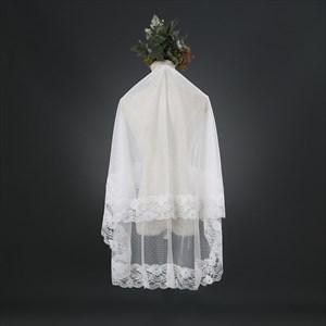 One-Tier Elbow Length Lace Bridal Veil With Lace Applique Edge
