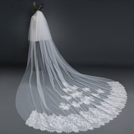 Two-Tier White Cathedral Length Bridal Veil With Lace Applique
