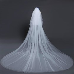 Two-Tier Simple White Cut Edge Cathedral Length Bridal Veil