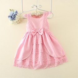 Pink Cap Sleeve Knee Length A Line Flower Girl Dress With Bow