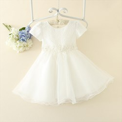 White A Line Short Sleeve Beaded Lace Bodice Flower Girl Dress