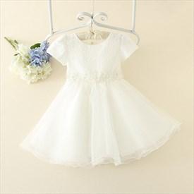 White A Line Short Sleeve Beaded Lace Bodice Flower Girl Dress