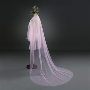 One-Tier Pink Simple Drop Chapel Length Bridal Veil With Cut Edge