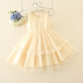Champagne A Line Short Beaded Flower Girl Dresses With Flowers