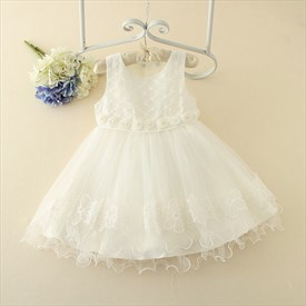 White A Line Knee Length Sleeveless Flower Girl Dress With Flowers