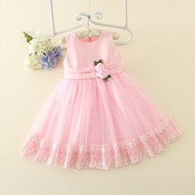 Pink A Line Sleeveless Flower Girl Dresses With Flowers In Waist