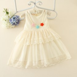 White Sleeveless A Line Knee Length Flower Girl Dress With Beading