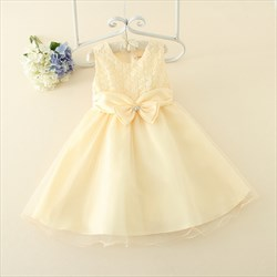 Champagne A Line Knee Length Flower Girl Dress With Lace Top