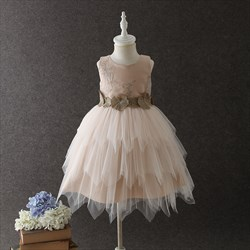 Pink Knee Length A Line Flower Girl Dress With Embroidery And Applique