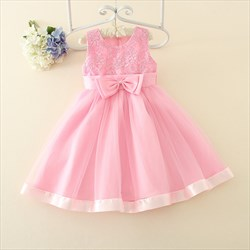 Pink Lace Bodice A Line Knee Length Flower Girl Dress With Big Bow