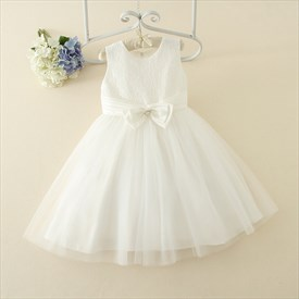 White Lace Top A Line Knee Length Flower Girl Dress With Bow