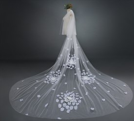 One-Tier Satin Flower Embellished Cathedral Length Bridal Veil