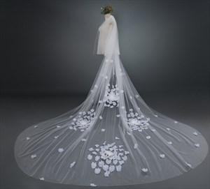 One-Tier Satin Flower Embellished Cathedral Length Bridal Veil