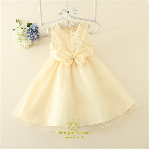 Champagne A Line Knee Length Flower Girl Dress With Lace Bodice
