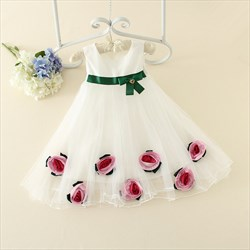 White A Line Sleeveless Flower Girl Dress With Flowers In Skirt