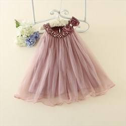 Pink Sleeveless Halter Flower Girl Dress With Bow And Beading