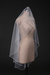 One-Tier Fingertip Bridal Veil With Faux Pearl Embellished Edge