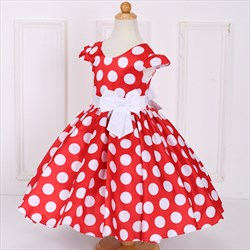 Red Polka Dot Knee Length Cap Sleeve Flower Girl Dresses With Bow