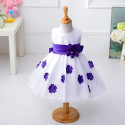 Purple Ball Gown Knee Length Flower Girl Dress With Flowers In Skirt