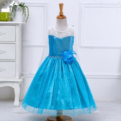 Blue Sequin Embellished A Line Knee Length Flower Girl Dresses