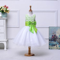 Mint Green A Line Knee Length Lace Top Flower Girl Dress With Bow