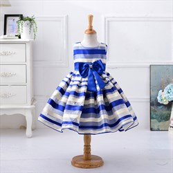 Royal Blue A Line Knee Length Sleeveless Flower Girl Dress With Bow