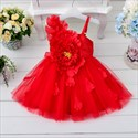 Champagne Knee Length One Strap Flower Girl Dresses With Big Flower
