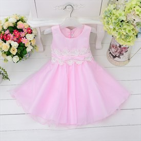 Pink A Line Knee Length Sleeveless Flower Girl Dresses With Sash