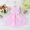 Pink A Line Knee Length Sleeveless Flower Girl Dresses With Sash