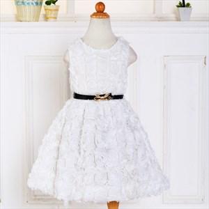 White Knee Length Sleeveless Flower Girl Dress With Rose Petals