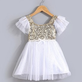 White Knee Length Short Sleeve Cap Sleeve Flower Girl Dresses