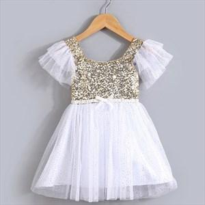 White Knee Length Short Sleeve Cap Sleeve Flower Girl Dresses