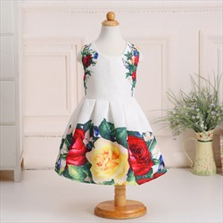 White Knee Length Ball Gown Floral Print Flower Girl Dresses