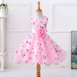 Pink Ball Gown Short Floral Print Flower Girl Dress With Flower Sash