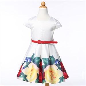 White Short Sleeve Ball Gown Floral Print Short Flower Girl Dress