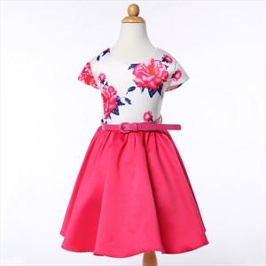Hot Pink Floral Print Short Sleeve Flower Girl Dresses With Sash