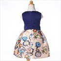 Navy Blue Sleeveless Floral Print Flower Girl Dress With Bow