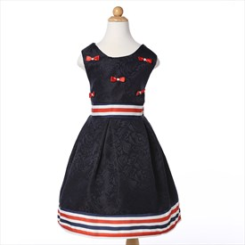Black A Line Knee Length Flower Girl Dress With Bow