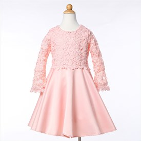Pink Lace Top A Line Knee Length Long Sleeve Flower Girl Dresses