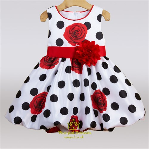 Polka Dot Floral Print Knee Length Flower Girl Dress With Flower