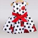 Polka Dot Floral Print Knee Length Flower Girl Dress With Flower