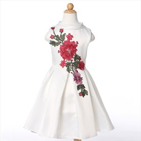 White High Neck Knee Length Flower Girl Dresses With Embroidery